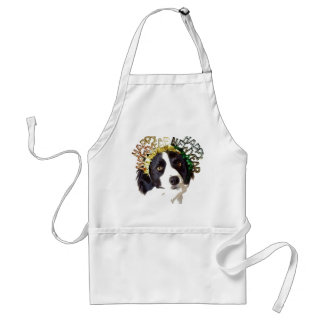Dog Wearing Happy New Year Hats Adult Apron