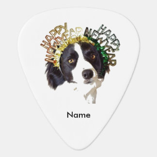 Dog Wearing Happy New Year Hats Guitar Pick