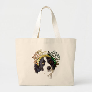 Dog Wearing Happy New Year Hats Large Tote Bag