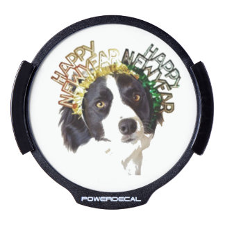 Dog Wearing Happy New Year Hats LED Window Decal