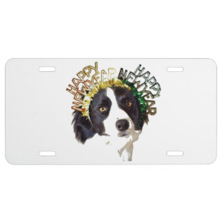 Dog Wearing Happy New Year Hats License Plate