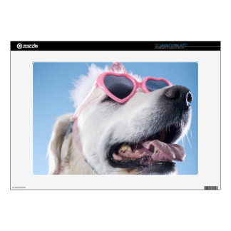Dog wearing heart shaped classes and tu-tu skins for laptops