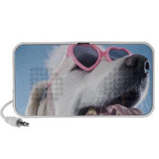 Dog wearing heart shaped classes and tu-tu travel speakers