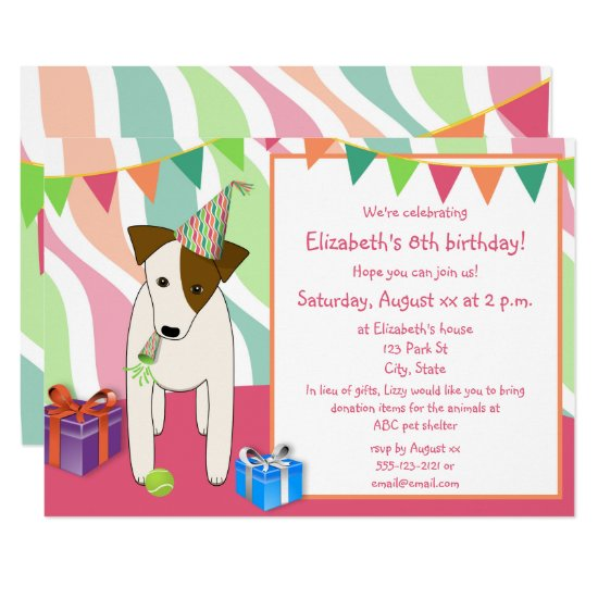 dog wearing party hat pink girl's birthday party invitation