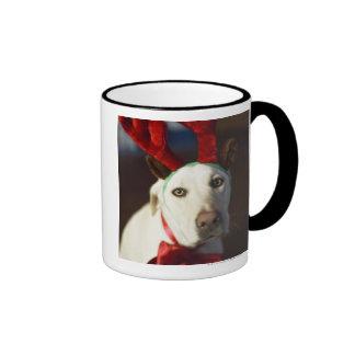 Dog wearing reindeer antlers mug