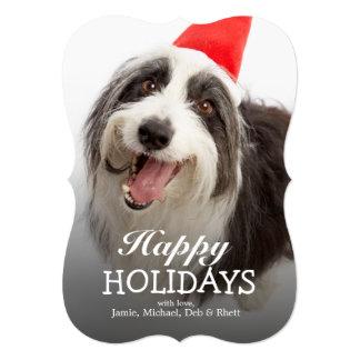 Dog wearing Santa hat 5x7 Paper Invitation Card