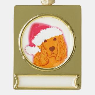 Dog Wearing Santa Hat Banner Decoration Gold Plated Banner Ornament