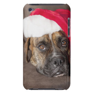 Dog wearing Santa hat Barely There iPod Cover