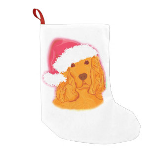 Dog Wearing Santa Hat Christmas Stocking Small Christmas Stocking