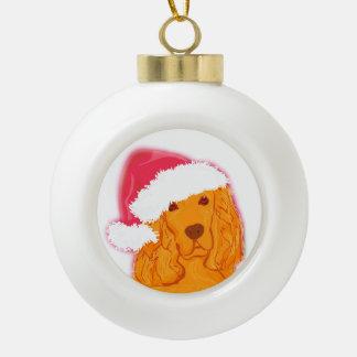 Dog Wearing Santa Hat  Decoration Ceramic Ball Christmas Ornament