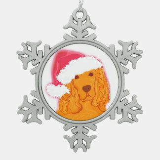 Dog Wearing Santa Hat Decoration Snowflake Pewter Christmas Ornament