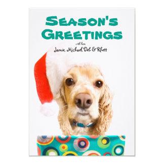 Dog wearing santa hat, holding present 5x7 paper invitation card
