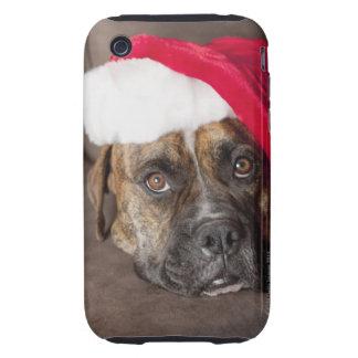 Dog wearing Santa hat iPhone 3 Tough Case