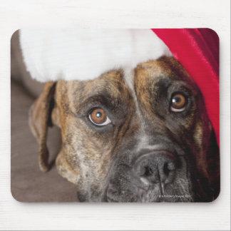 Dog wearing Santa hat Mouse Pad