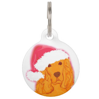 Dog Wearing Santa Hat  Pet Tag