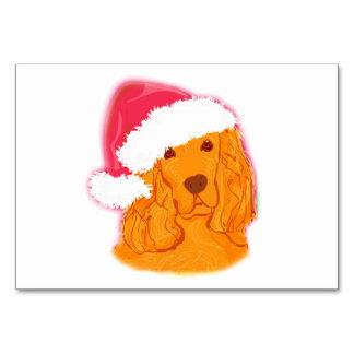 Dog Wearing Santa Hat  table card