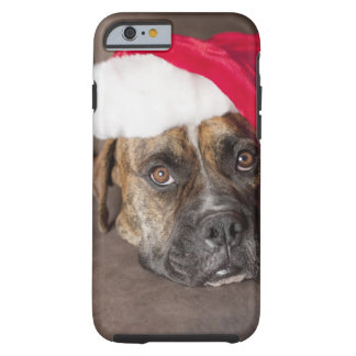 Dog wearing Santa hat Tough iPhone 6 Case