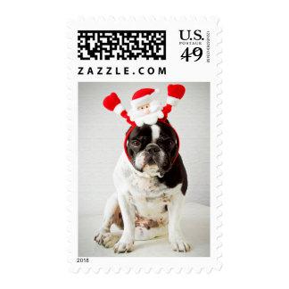 Dog wearing santa headband stamps