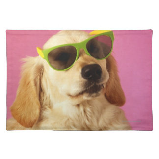Dog wearing sunglasses 2 cloth placemat