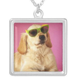 Dog wearing sunglasses 2 square pendant necklace