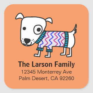 Dog wearing Sweater Square Address Labels Square Sticker