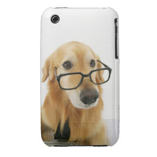 Dog wearing  tie and glasses sitting on chair in iPhone 3 case