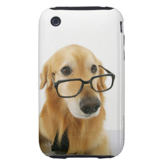 Dog wearing  tie and glasses sitting on chair in tough iPhone 3 case