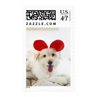 Dog wearing toy ears on bed postage stamp