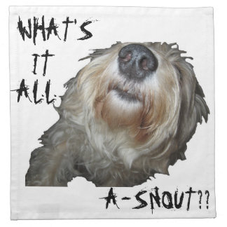 "Dog ""WHAT'S IT ALL A-SNOUT??"" Napkins - Set of 4"