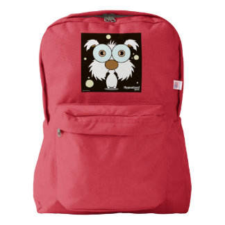 Dog(white) Backpack, Red Backpack
