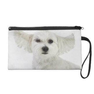 Dog winking wristlet purse
