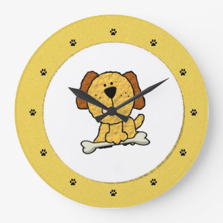 Dog with a Bone Large Clock