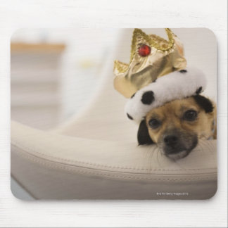 Dog with a crown mouse pad