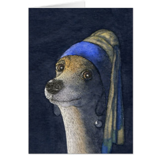 Dog with a pearl earring greeting card