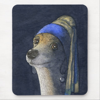 Dog with a pearl earring mouse pad