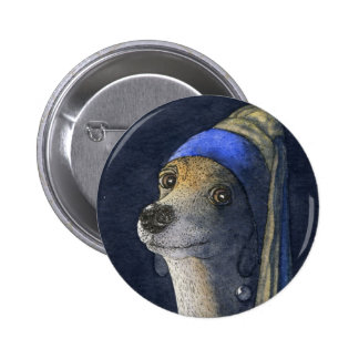 Dog with a pearl earring pinback button