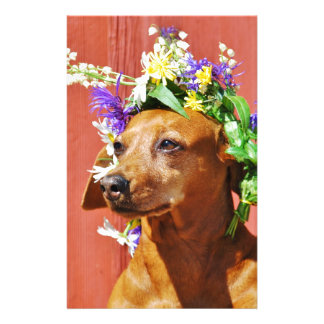 Dog with a traditional floral wreath to the Mi Stationery