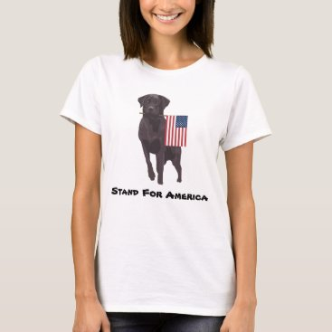 USA Themed Dog With American Flag Taking a Stand For The USA T-Shirt