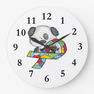 Dog With Autism Awareness Ribbon Large Clock