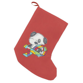 Dog With Autism Awareness Ribbon Small Christmas Stocking