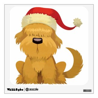 Dog with Bangs and Christmas Hat Room Sticker