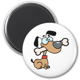 Dog With Big Bone In Mouth 2 Inch Round Magnet