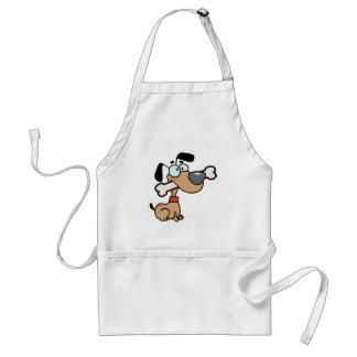 Dog With Big Bone In Mouth Adult Apron