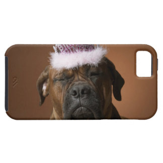 Dog with birthday crown on head iPhone 5 cover
