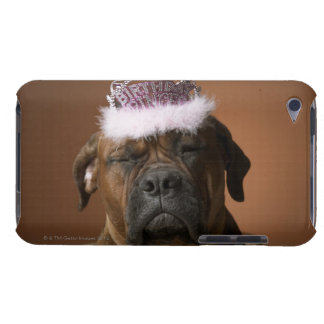 Dog with birthday crown on head barely there iPod cover