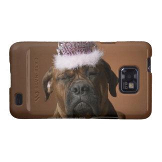 Dog with birthday crown on head galaxy SII case