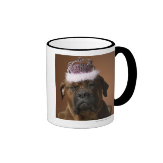 Dog with birthday crown on head ringer mug