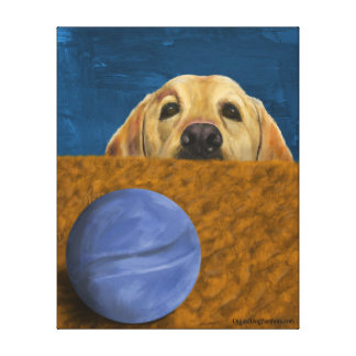 Dog with blue ball canvas print