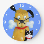 Dog with Bone and Cat - Wall Clock