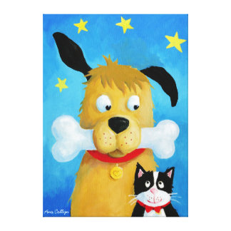Dog with Bone & Cat canvas Painting
